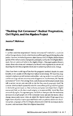 Wahman_Fleshing Out Consensus_Radical Pragmatism, Civil Rights, and the Algebra Project..pdf